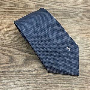 Yves Saint Laurent Blue w/ Gold & White Check Tie